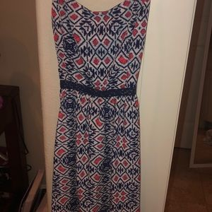 Pink blue and white tribal print dress